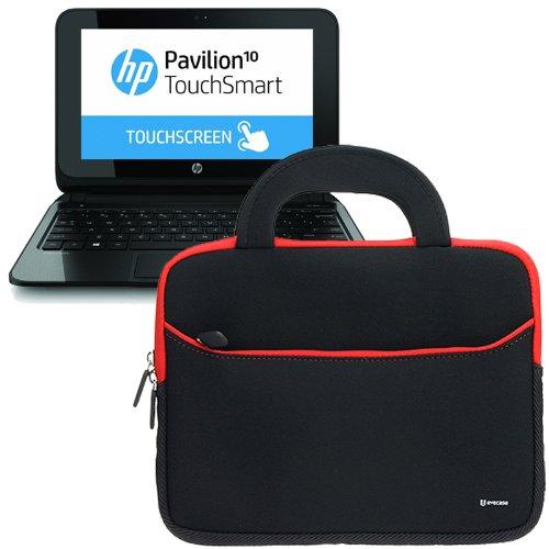 Evecase Ultraportable Handle Carrying Portfolio Neoprene Sleeve Case Bag For Hp Pavilion 10-E010Nr 10.1-Inch Touchscreen Laptop / / Pavilion 10 Touchsmart 10Z-E000 Notebook Pc (Black)