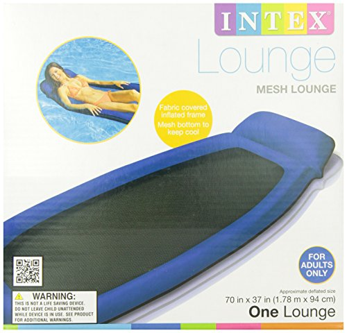 INTEX Inflatable Mesh Lounge Floating Raft w/ Headrest (Red or Blue) | 58836EP
