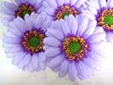 (12) BIG Purple Gerbera Daisy Silk Flower Heads , Gerber Daisies - 3.5
