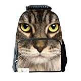 Ibeauti Unisex School Backpack, Large Capacity 3d Vivid Animal Face Print Polyester Backpack (Grey Cat)