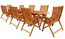 Big Sale LuuNguyen - Tullamore 9-Piece Extension / Expandable Hardwood Outdoor Furniture Dining Set (Natural Wood Finish)