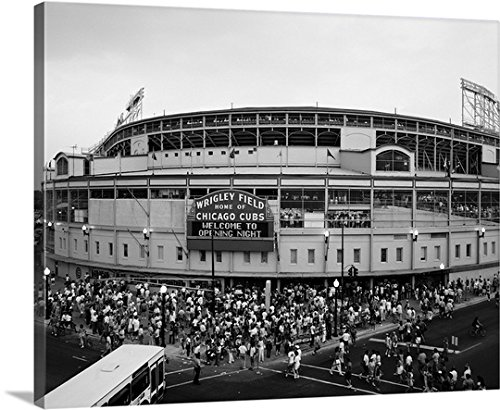premium-thick-wrap-canvas-wall-art-print-entitled-tourists-outside-a-baseball-stadium-at-opening-nig