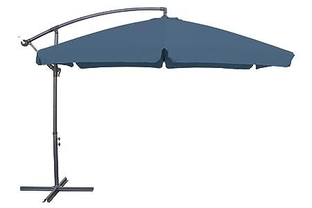 miweba aluminio sombrilla Sunny con faldón 350cm de diámetro 50+ Protección UV con funda–Sombrilla Mercado pantalla Manivela pantalla Jardín pantalla, gris