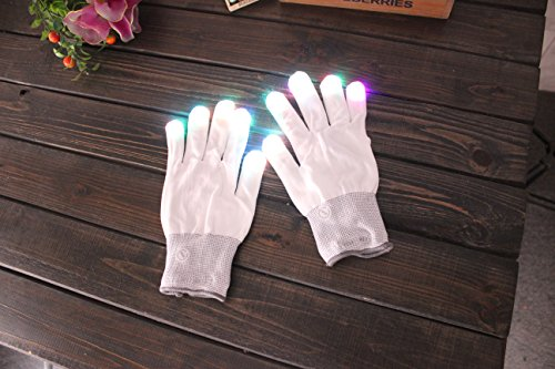 Flashing Finger Lighting Mitten LED Colorful Flash Light Glow Gloves 6 Colors Light Show and Multi-Color LED Light Up Shoelaces, Battery Powered, One Pair