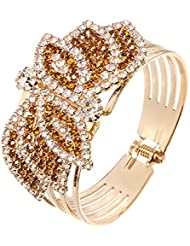 Silver Shoppee The Glitterati Crystal And Cubic Zirconia Studded 18K Yellow Gold Plated Alloy Bracelet