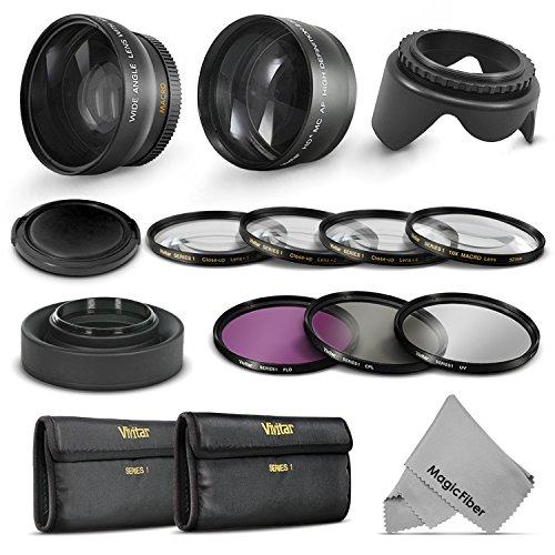 52Mm Starter Accessory Kit For Nikon Dslr (D3300 D3200 D5300 D5200 D5100 D5000 D3100 D3000 D90 D80) - Includes: 0.43X Wide Angle & 2.2X Telephoto High Definition Lenses + Vivitar Filter Kit (Uv, Cpl, Fld) + Vivitar Macro Close-Up Set + Collapsible Lens Ho