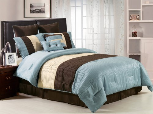 Chezmoi Collection 7 Pieces Beige Blue And Brown Luxury Stripe Comforter 86 X 88