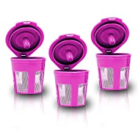 Pack of 3, Premium Quality Mesh Solo Serve Reusable Coffee Filter Pods in Hot Pink