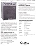 Carvin 100D Acoustic PA Amp III Operating Manual (Carvin Engineering Data)