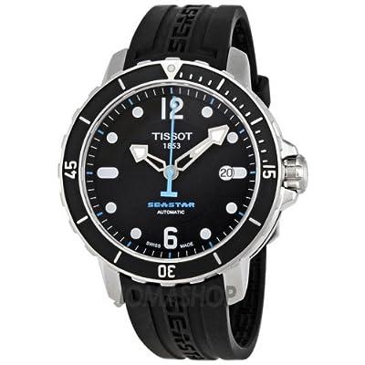 Tissot Men's T0664071705700 Seastar 1000 Black Dial and Strap Watch by Tissot