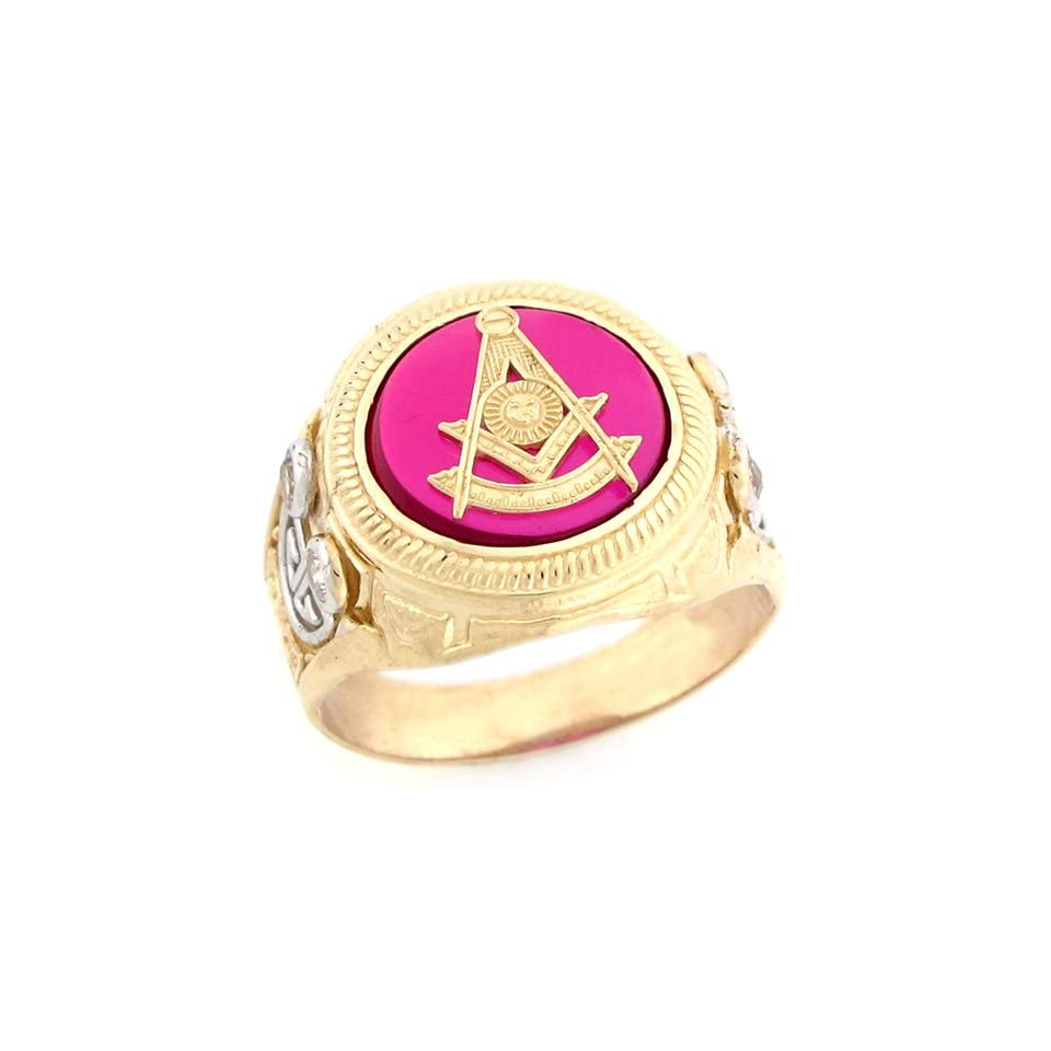 10k Gold Past Master Freemason Masonic Simulated Ruby CZ Mens Ring