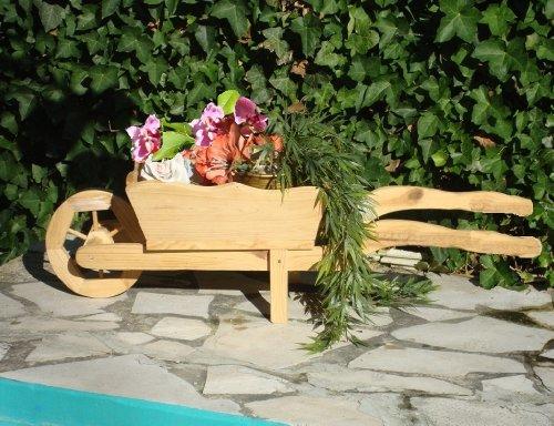 Brouette/brouette holzschubkarre-garten deko 110 cm bac à fleurs, pot hSC décoration en bois flammé - 110-pot de fleurs ou bois décorative pour pots de fleurs pot de fleurs et pots