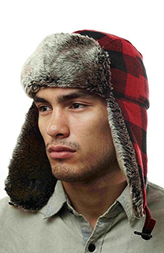 W220E Red Buffalo Plaid Checker Pilot Trapper Hat With Soft Faux Fur For Womens And Mens One Size Fits Up To A Large Head