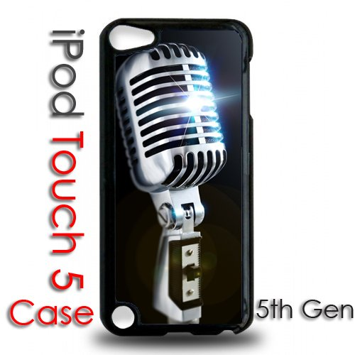 Ipod 5 Touch Black Plastic Case - Old School Microphone 50'S Style Retro