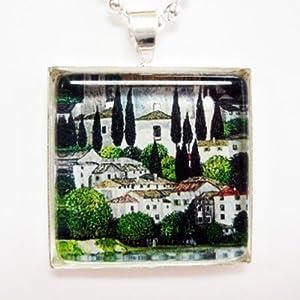 Church in Cassone by Gustav Klimt Glass Tile Pendant Necklace