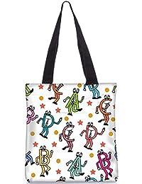 Snoogg Dancing Alphabets Digitally Printed Utility Tote Bag Handbag Made Of Poly Canvas