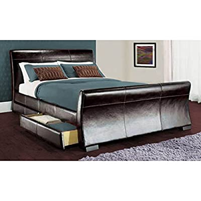 5ft king size leather sleigh bed with storage 4X drawers Black