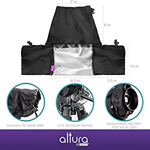 Altura Photo® Professional Rain Cover for Large DSLR Cameras (Canon Nikon Sony Pentax Olympus Fuji) - Including CANON REBEL EOS T5i T4i T3i T3 T2i T1i SL1 XT XTi 70D 60D 7D 6D 5D Mark III, NIKON D7100 D7000 D5300 D5200 D5100 D5000 D3300 D3200 D3100 D3000