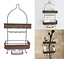Decor Hut Shower Caddy with Soap Holder, Hang Over Shower Head, 2 Tier Shower Accessories Holder, Shaver Holder.