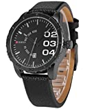 AMPM24 Herren Armbanduhr Schwarze Quarzuhr mit Schwarze Armband aus Leder