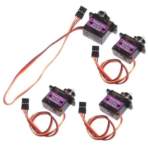 Discount 4pcs MG90 Gear Micro Servo for RC Helicopter Plane Boat Car + Horns