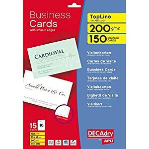 Decadry Topline Business Card Brt White Sq Pack of 500