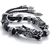 KONOV Bijoux Bracelet Homme - Lourd Dragon Tribal - Cuir - Acier Inoxydable - Fantaisie - pour Homme - Chaîne de Main - Couleur Noir Argent - Avec Sac Cadeau