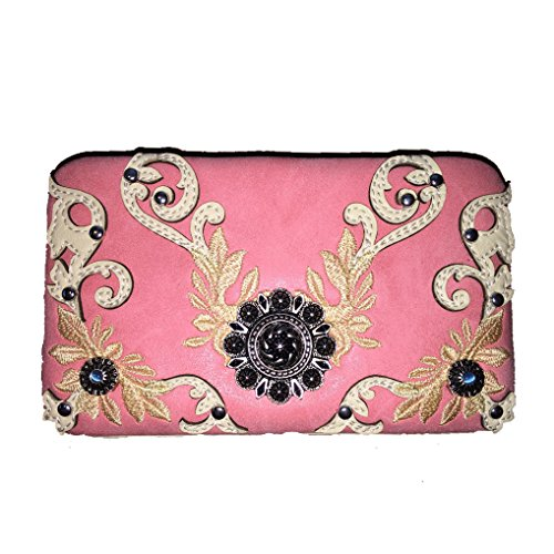 2015 New Style Rhinestone Buckle Concho Concealed Carry Embroidered Leather Shoulder Handbag Purse and Matching Messenger Bag, Wallet in Pink (CC Pink Wallet)