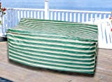 Durable Outdoor Patio Striped Vinyl 3-Seat Glider Chair Cover - Green and Khaki