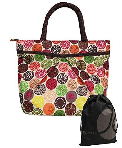 JAVOedge Colorful Polka Dot Pocket Lunch Bag Tote with Zipper Closure and Handle and Bonus Drawstring Storage Bag - 1