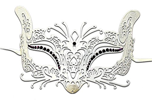 Luxury Mask Women's Halloween Laser Cut Metal Venetian Cat Mask Prom Mardi Gras