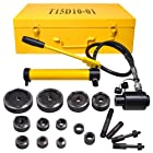 15 Ton 1/2 to 4 Hydraulic Knockout Punch Driver Kit Hole Complete Tool 10 Dies 11 14 Gauge Tool Metal Case Yellow