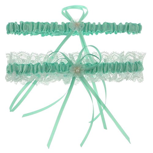 DivaDesigns Lace Ruffle Faux Pearl Chiffon Floral Ribbon Wedding Garter with Toss Away Mint
