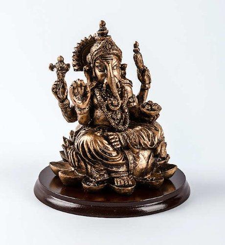 figura Wohndeko GANESHA di della LEGNO ottone - decorazione SU Ganesh interni statua BASE finitura Asiatica casa Dekogegenstand Dekofigur arredo accessorio