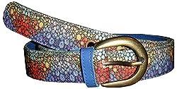 Jajv Women's Canvas Belts (VJ Round, Blue, M)