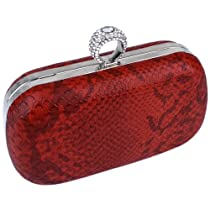 MG Collection Red Faux Snake Rhinestones Ring Clasp Evening Clutch Hand Bag