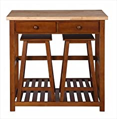 Dorel Asia Kitchen Island with Stools