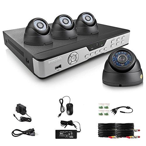 ZMODO 8 Kanal H.264 DVR Videoüberwachung Set Überwachungssystem mit 4 Innen Tag/Nacht Hohe Auflösung Überwachungskamera ohne Festplatte