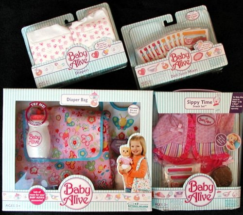 Set of 4 Baby Alive Accessory Kits - Diaper Bag - Diapers - Bottle - Juice - Clothes - 1