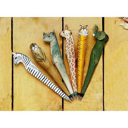 Collectible 6pc Wooden Safari Pen Set