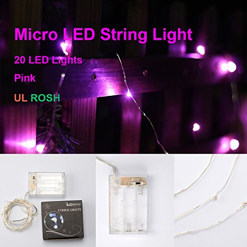Pink String Lights Battery Operated : LIDORE Micro LED 20 Pink String Lights with Timer, Battery Operated on 7.87ft Long Silver Color ...