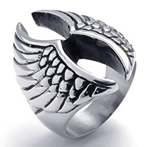 KONOV Jewelry Stainless Steel Angel Wing Biker Mens Ring, Color Silver Black - Size 12