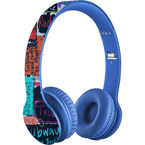 Beats By Dr. Dre Solo Hd On-Ear Monochromatic Headphones, Drenched In Blue Bundle With Gelaskin Nyc Words Wrap