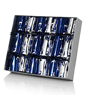 6 Blue & Silver Reindeer Mini Luxury Christmas Crackers