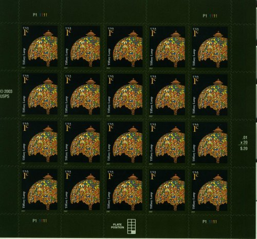 Tiffany Lamp Pane 20 x 1 Cent US Postage stamps - 1