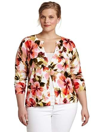 Jones New York Women S Printed Floral Cardigan Sweater