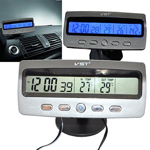 Ikkegol Car 12V Voltage Digital Lcd Display Blue Backlight Time Clock In Out Thermometer Monitor Battery Alarm Automotive Voltmeter