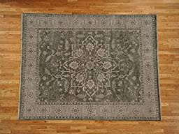 8 x 10 HAND KNOTTED GRAY OUSHAK SERAPI HERIZ ORIENTAL RUG VEGETABLE DYES G14026