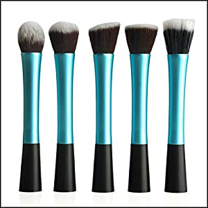 Constructan(TM) Blue Color 5 PCS Makeup Brushes Set Cosmetic Tool Powder Foundation Blush Brushes