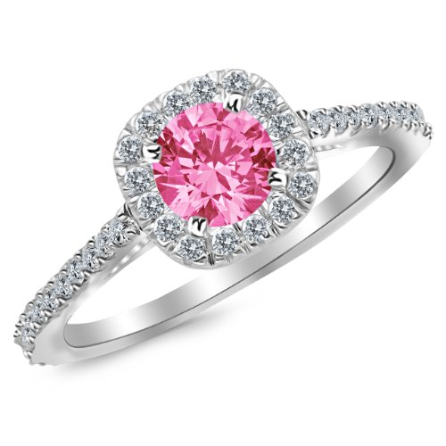 1.35 Carat 14K White Gold Gorgeous Classic Cushion Halo Style Diamond Engagement Ring with a 1 Carat Natural Pink Sapphire Center